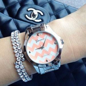 Accessories - Gorgeous Pink & Silver Chevron Watch