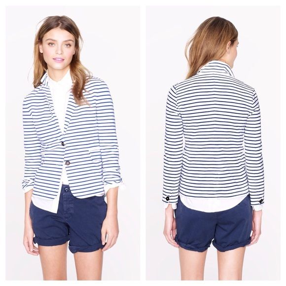 "JCREW MARITIME BLAZER IN STRIPE Great Condition, Our must-have maritime blazer is rendered in a spring-weight, skinny-stripe knit ponte cotton that has a soft slub texture and holds its shape just beautifully, so it's perfect for that mix of laid-back and polished that we adore. True to size. Cotton/spandex. Body length: 23 1/4"". Bracelet sleeves. Dry clean. J. Crew Jackets & Coats Blazers"