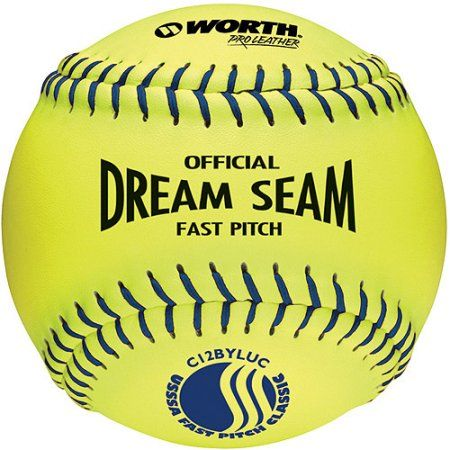 Worth Pro Leather Official Usssa Dream Seam Fastpitch Softball-12 inch - 1 Dozen