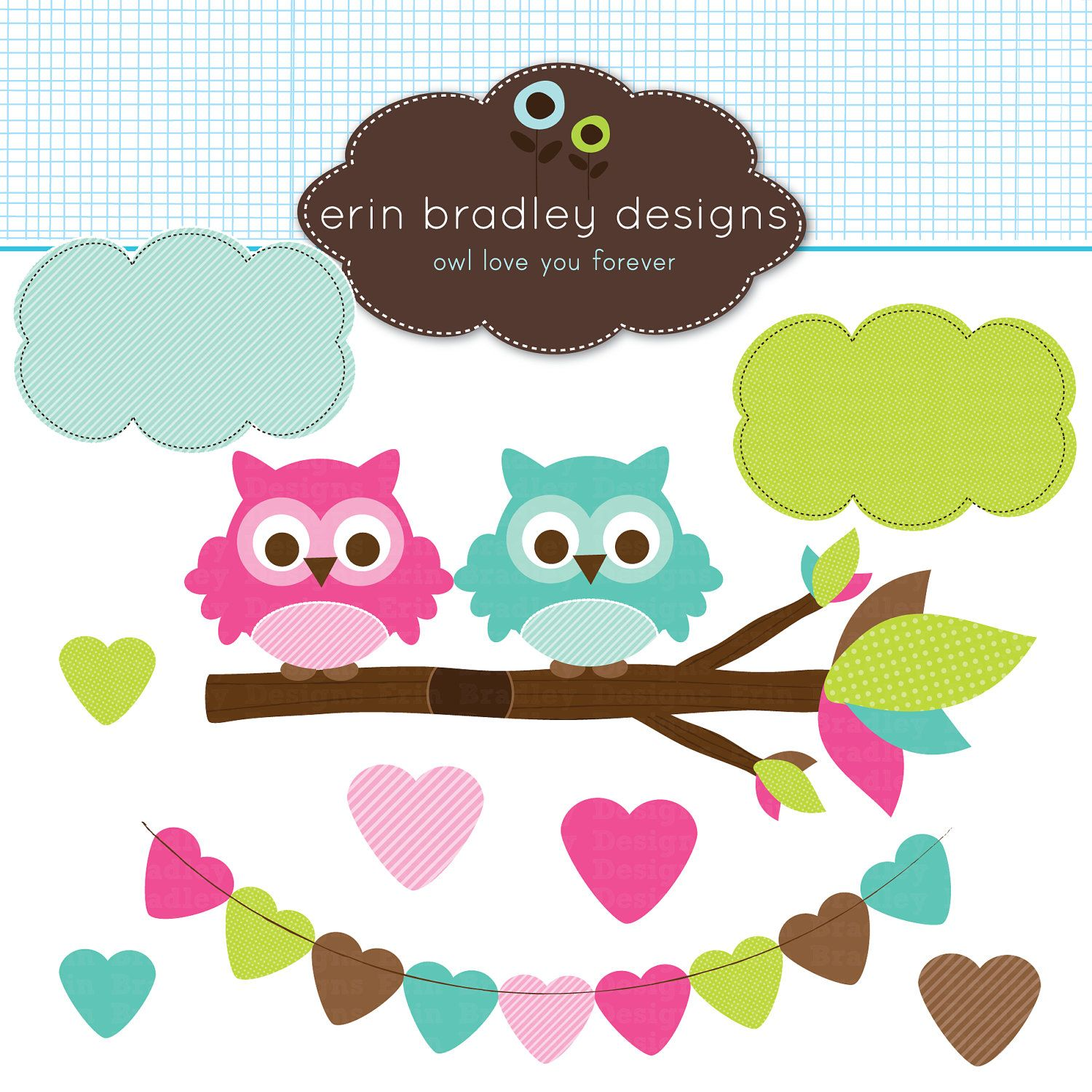 Pink and Blue Owls in a Branch Clipart Graphics Commercial Use ...