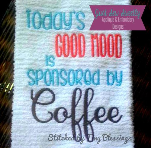 Coffee saying applique design embroidery by