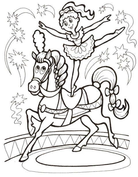 Раскраска. Девочка и лошадь (met afbeeldingen ...