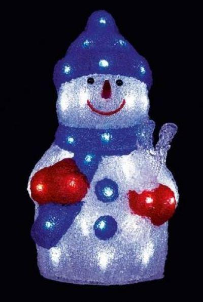 premier 36cm acrylic led snowman white lead snowman and acrylics