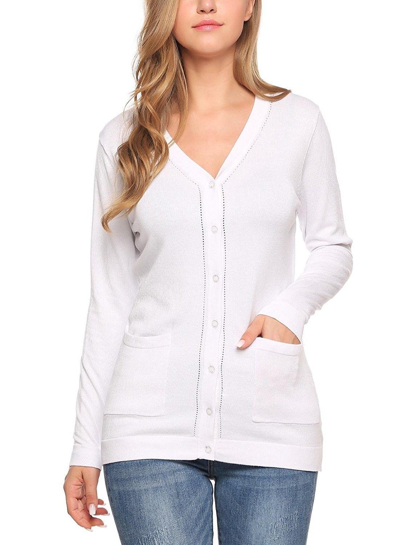 a4dbb16d981d Women s V Neck Button Down Long Sleeve Basic Soft Knit Cardigan ...