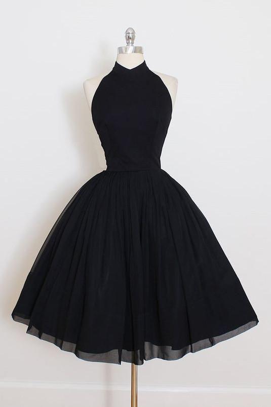 Black Prom Dresses, Short Prom Dresses, 2018 Custom Made Chiffon Prom Dress,Halter Backless Black Homecoming Dress,Short Party Dress #promdresses