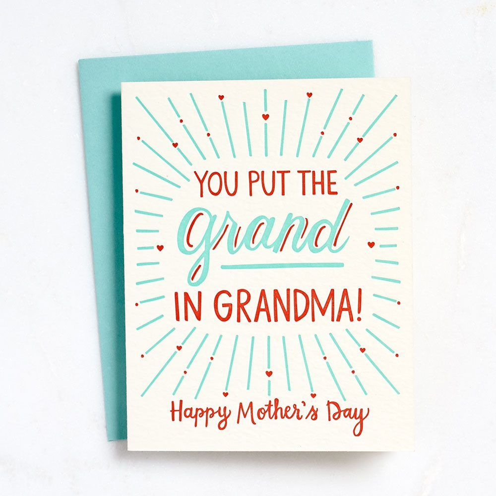 Grand In Grandma Letterpress Card Greeting Cards Paper Source Motherday Mothersdaygift Motherdaycard Makemomsday