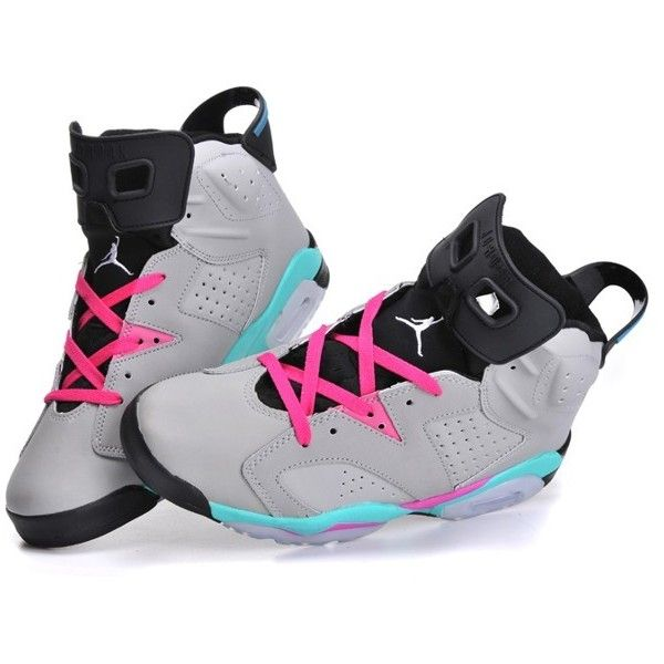 Air Jordan XI 6 New Releases Womens Basketball Shoes Grey Pink ( 102) ❤  liked on Polyvore featuring shoes c70c335cfd18