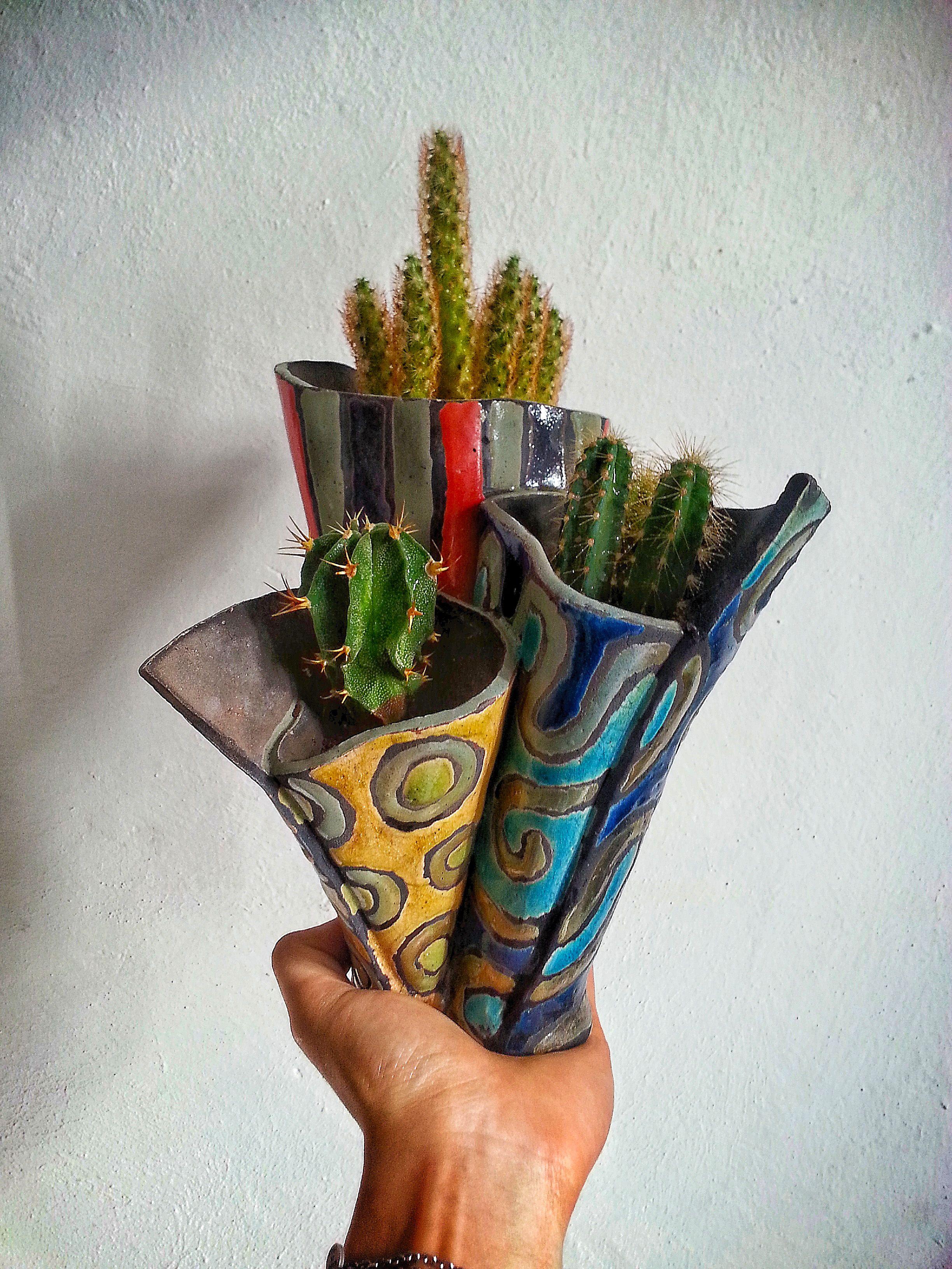 Hand Made Ceramics Tiny Trio of Raku Houses
