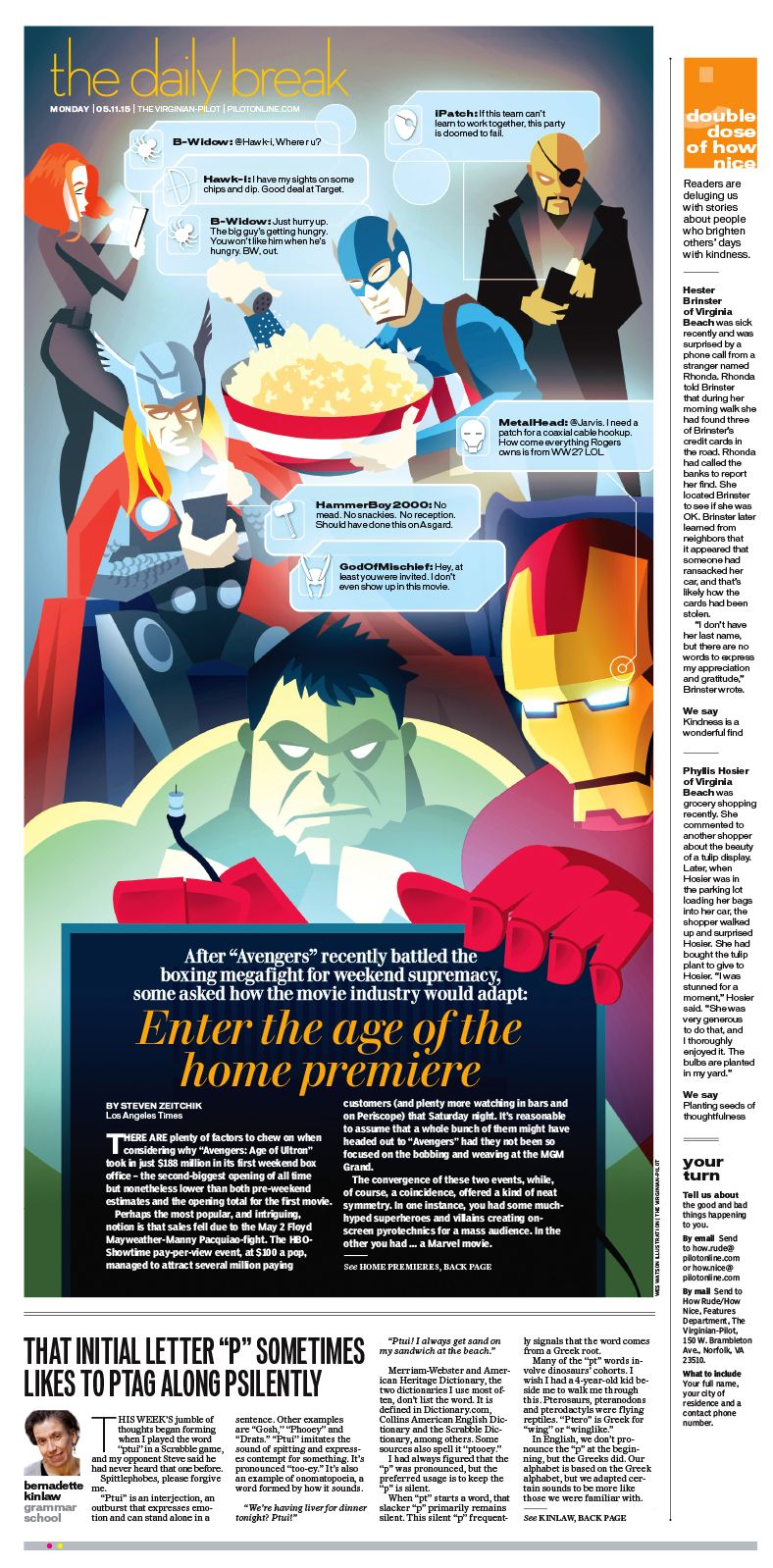 The Daily Break May 11 2015 The Avengers How Movie Industry Will Premiere Movies In The Future Vector Newspaper Design Newspaper Layout Editorial Design