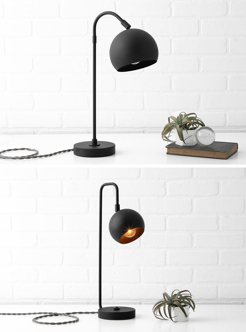 Modern Lighting Ideas - Drawing inspiration from mid-century lighting, this matte black modern lighting collection includes pendant lights, vanity lights, and table lamps, and has orb-shaped shades. #LightingIdeas #ModernLighting #MatteBlackLighting #MidCenturyLighting