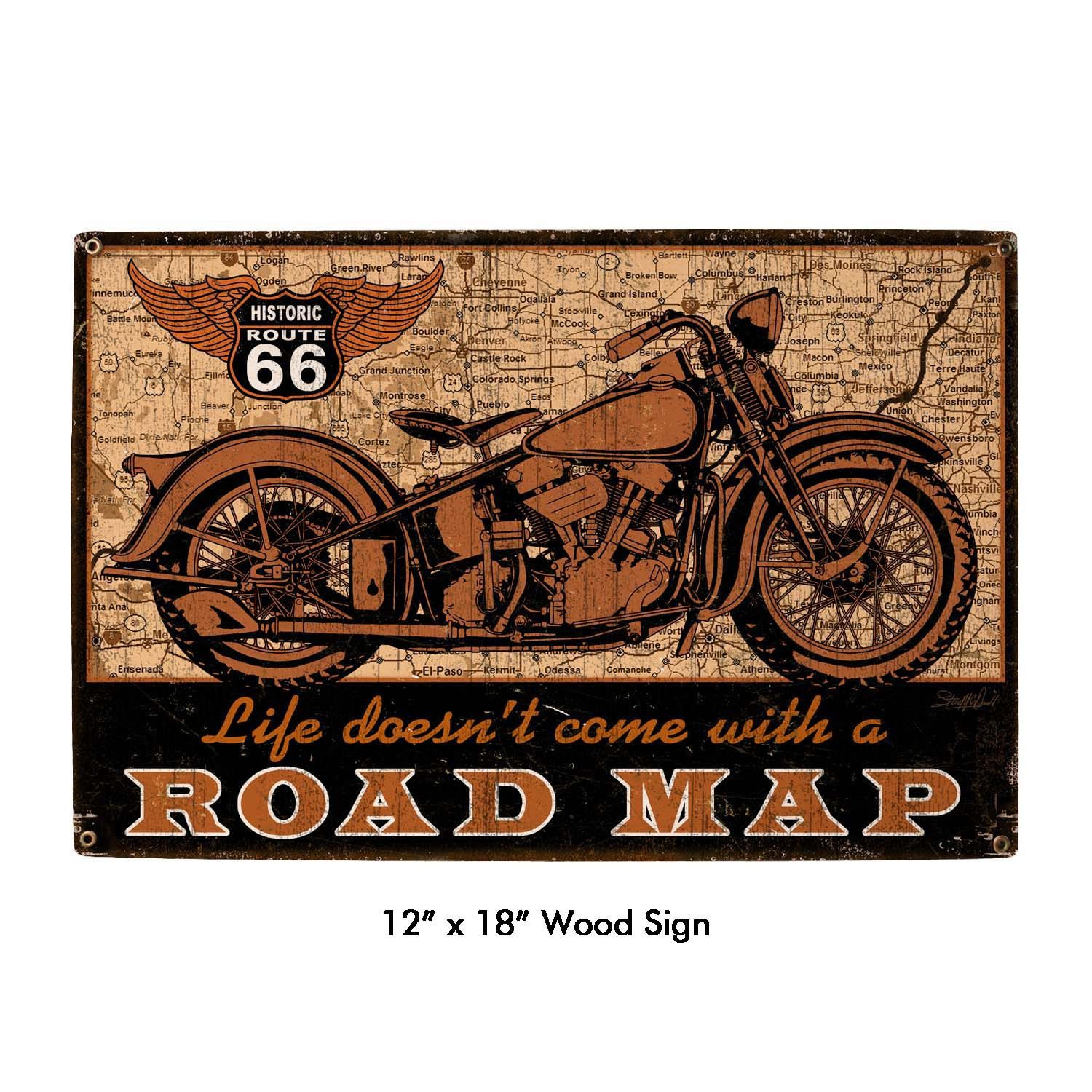 Relatively Road Map Route 66 Motorcycle, Art on metal sign vintage style  KK11