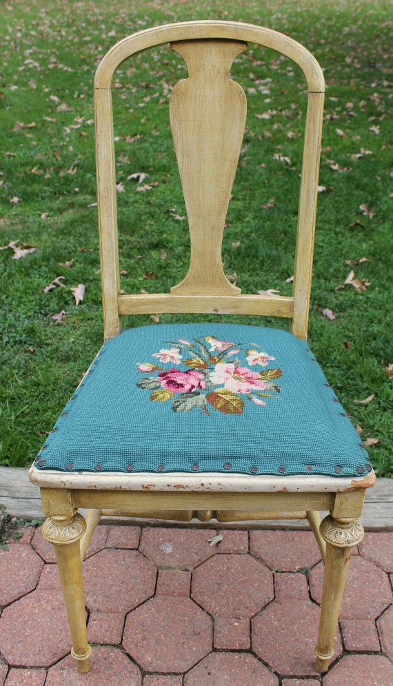 Needlepoint Seat Vintage Antique Chair Floral Tole Tapestry Fabric Cloth  Victorian Style Home Decor Accent