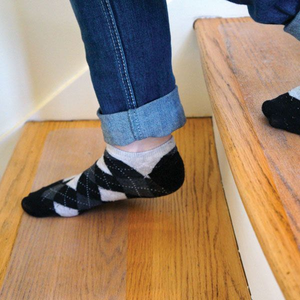 People Treads Socks On Slippery Wood Steps