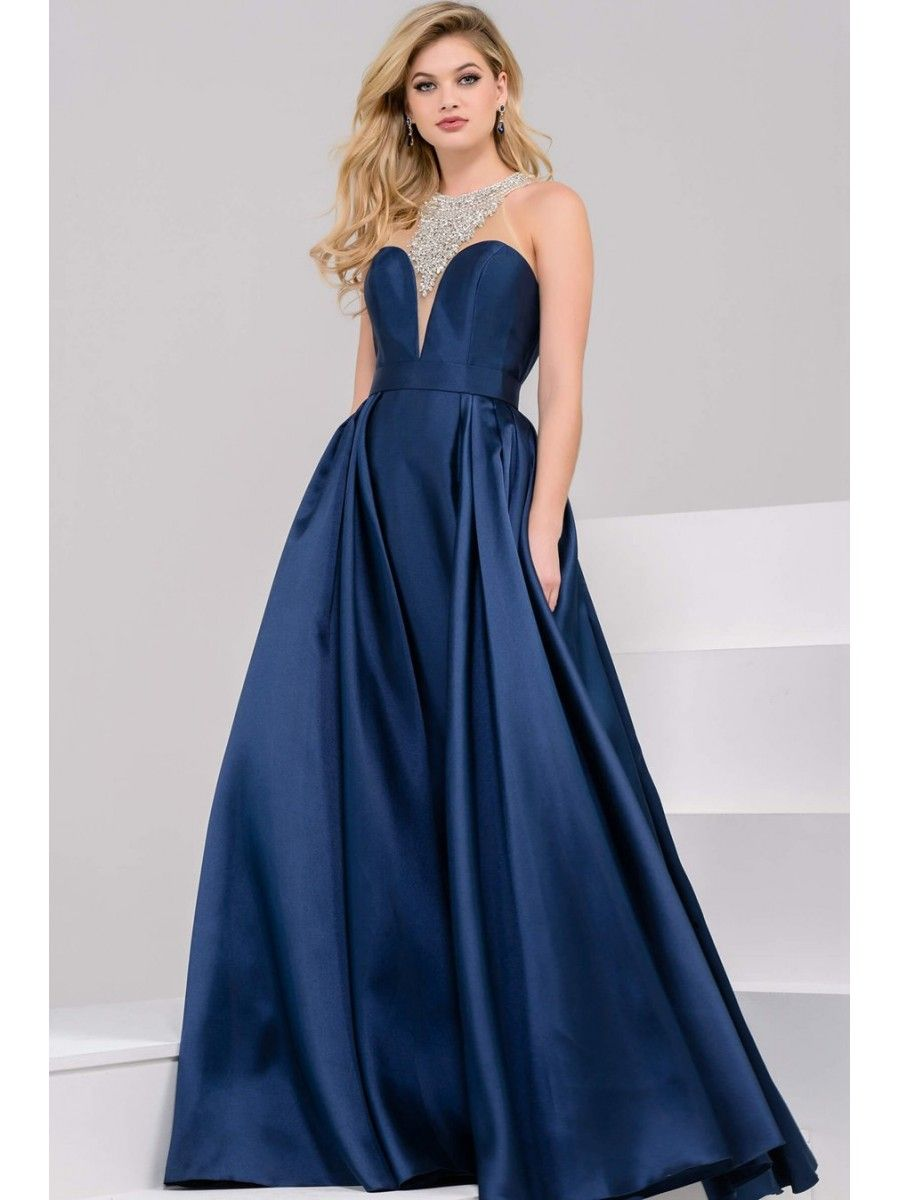 Navy sleeveless jeweled high neckline ballgown prom dresses