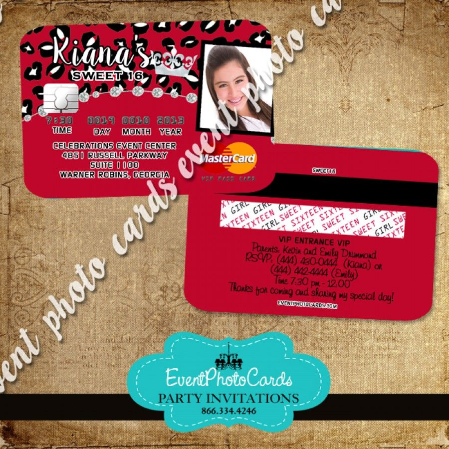 Red Cheetah Quince Invitations - Credit Card | Invitations that look ...