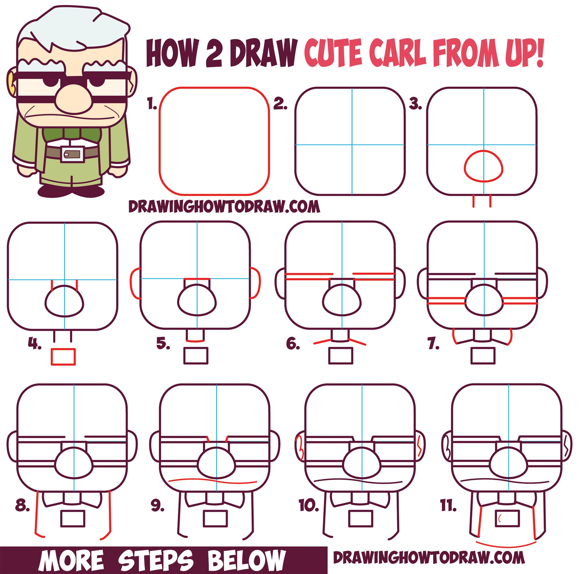 How To Draw Carl Fredricksen The Old Man From Pixar S Up Cute