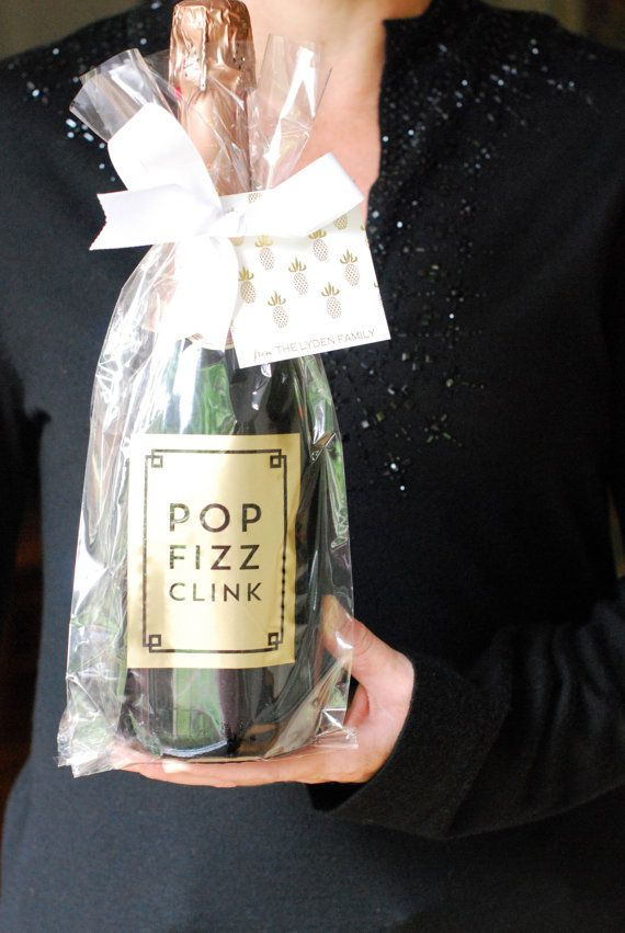 Gold Foil Stamped Cellophane Wine Gift Bag Fretwork By Whhostess
