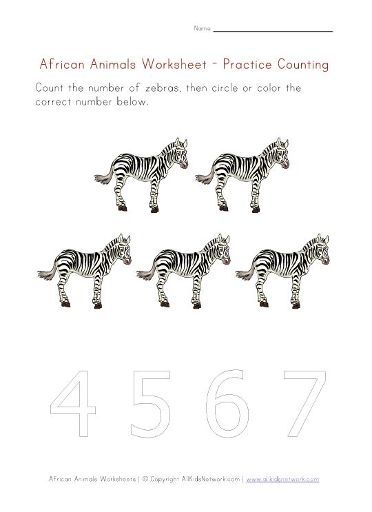 african animals counting sheet wild animals theme animal worksheets african animals animals. Black Bedroom Furniture Sets. Home Design Ideas