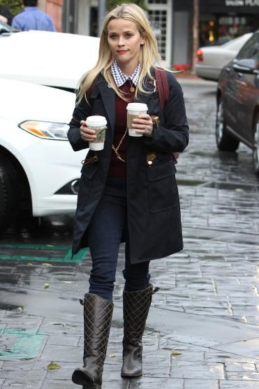 Reese Witherspoon wearing Michael Kors Navy Toggle Detail Hooded Duffle Coat, Draper James Elliot Shirt and Marc by Marc Jacobs Preppy Legend Backpack