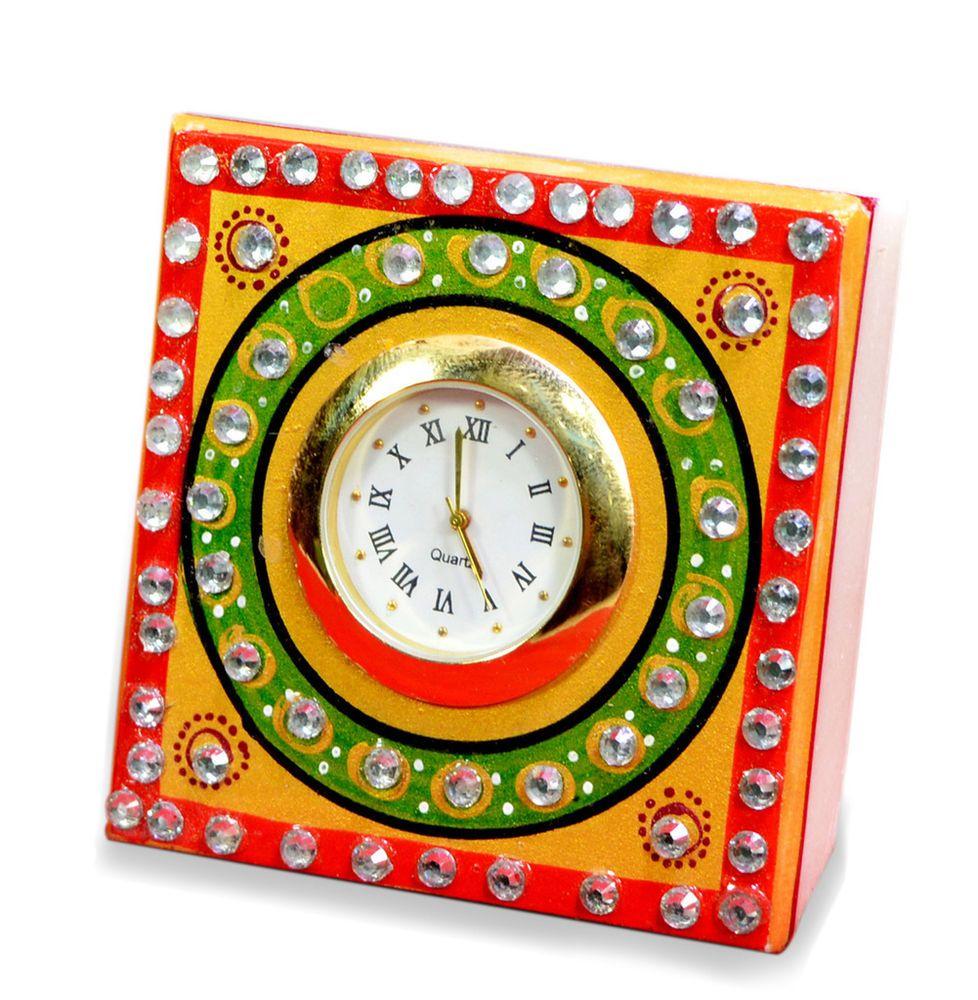Unique Indian Art Kundan Painted USA Marble Clock Showpiece Artefacts #krishnakraftindia #Traditional