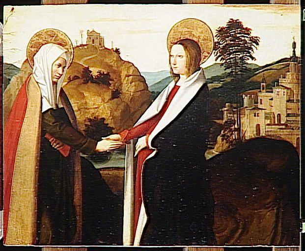 Josse Lieferinxe, Polyptyque de la Vierge : la visitation (Avinhon, 1493-1505, Musée du Louvre, Paris)