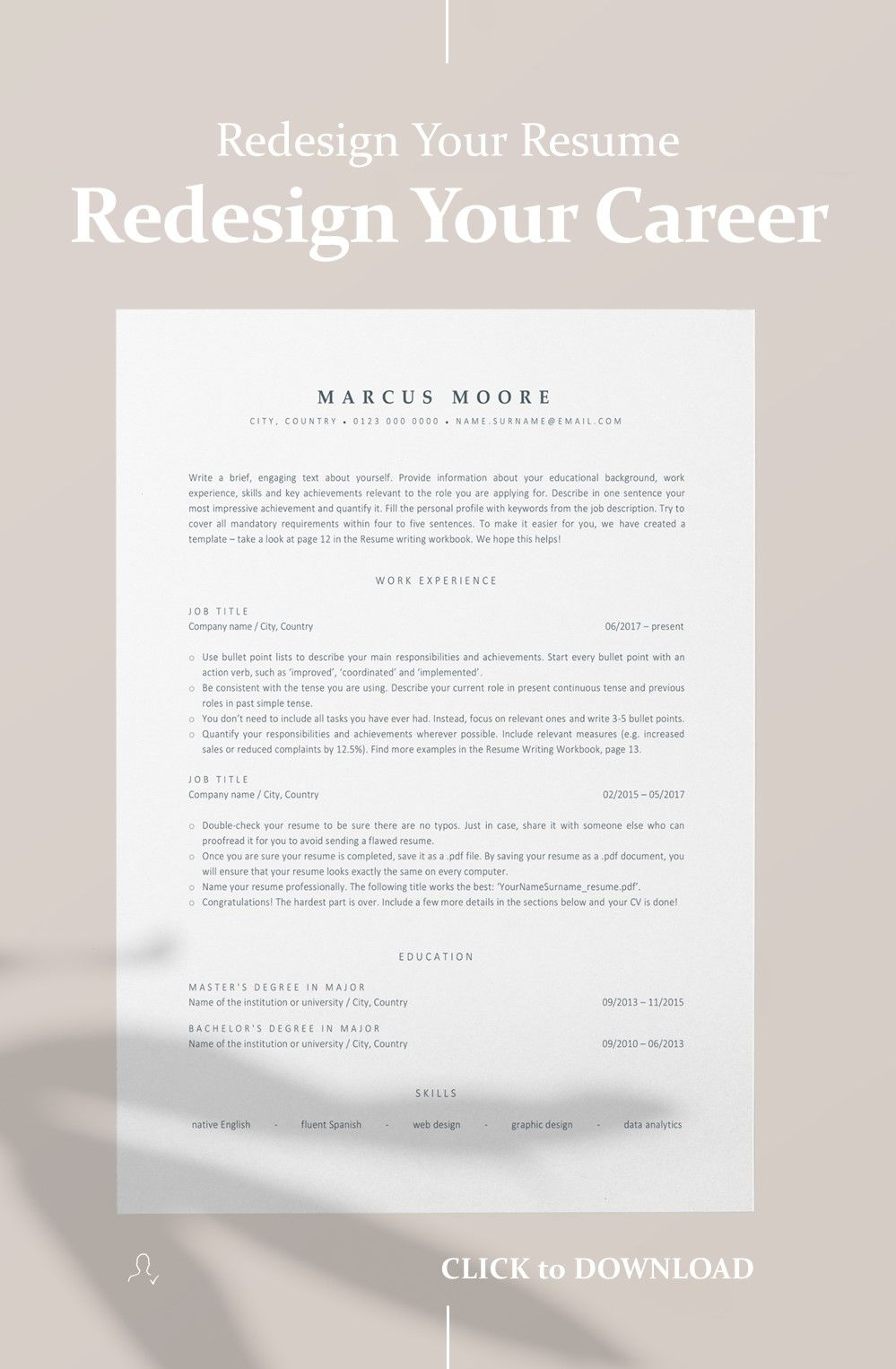 A perfect resume for modern professionals looking to
