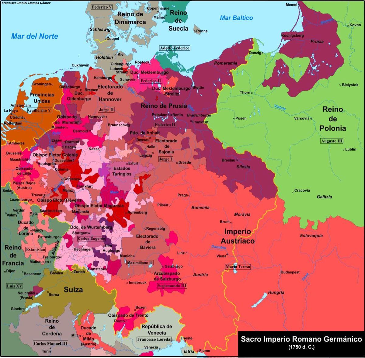 El Sacro Imperio Romano Germanico En 1 750 In