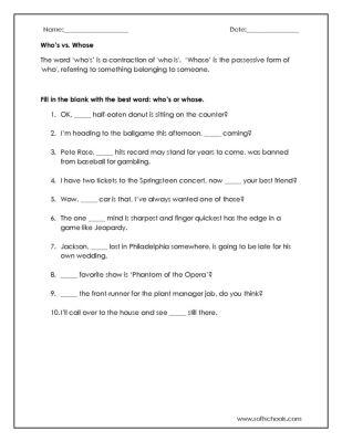 Whos Vs Whose Worksheet Worksheet Social Studies Worksheets 5th Grade Social Studies Counseling Teacher