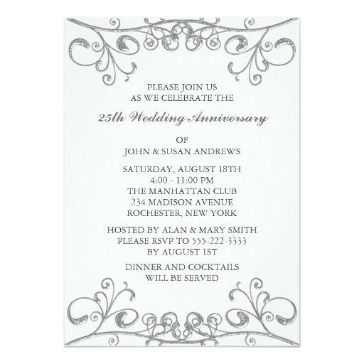 Silver 25th Wedding Anniversary Invitation Zazzle Com