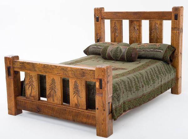 Elegant Rustic Lodge Barn Wood Bed with Carved Pine Trees New Design - Latest barnwood bedroom furniture Top Design