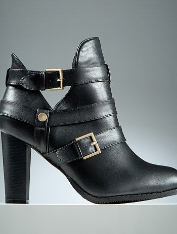 Boots Ouvertes Pieds Larges Stephanie Zwicky Noir Grande Taille