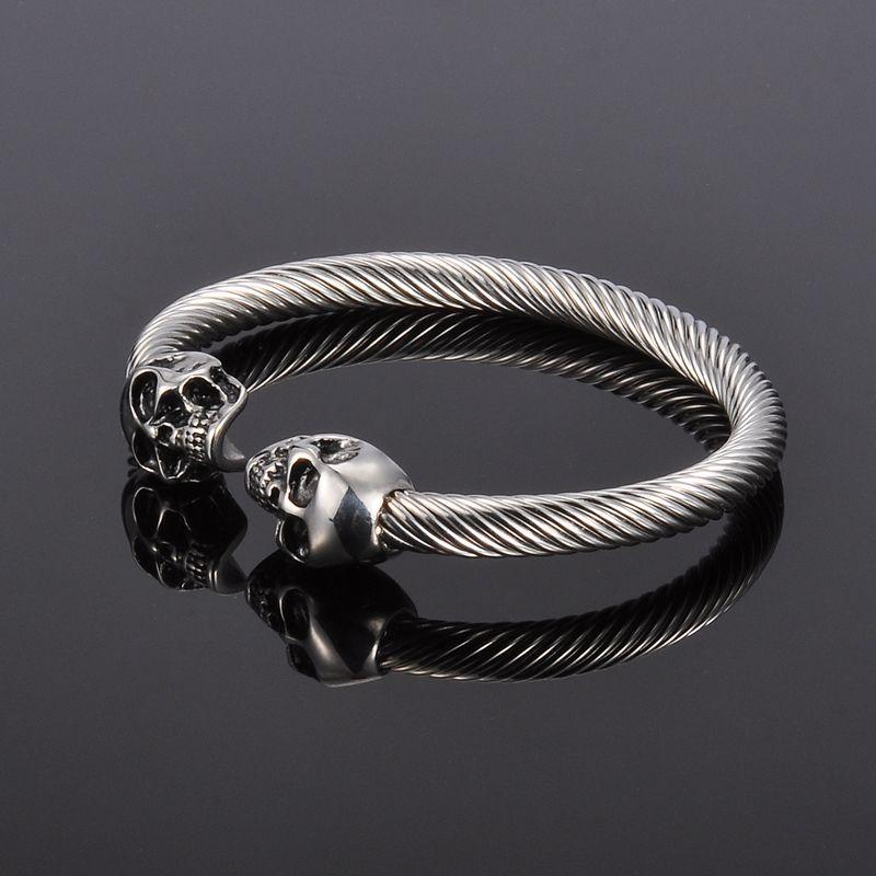 Antique Silver Punk Skull Stainless Steel Bracelet Mens Women
