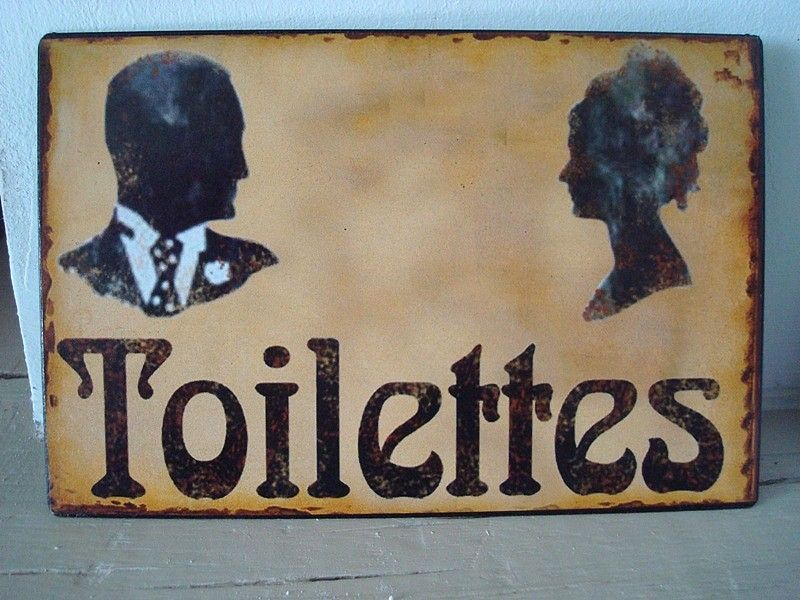 Plaque De Porte Toilettes Aux Silhouettes Déco De Charme Rétro - Plaques de porte décoratives