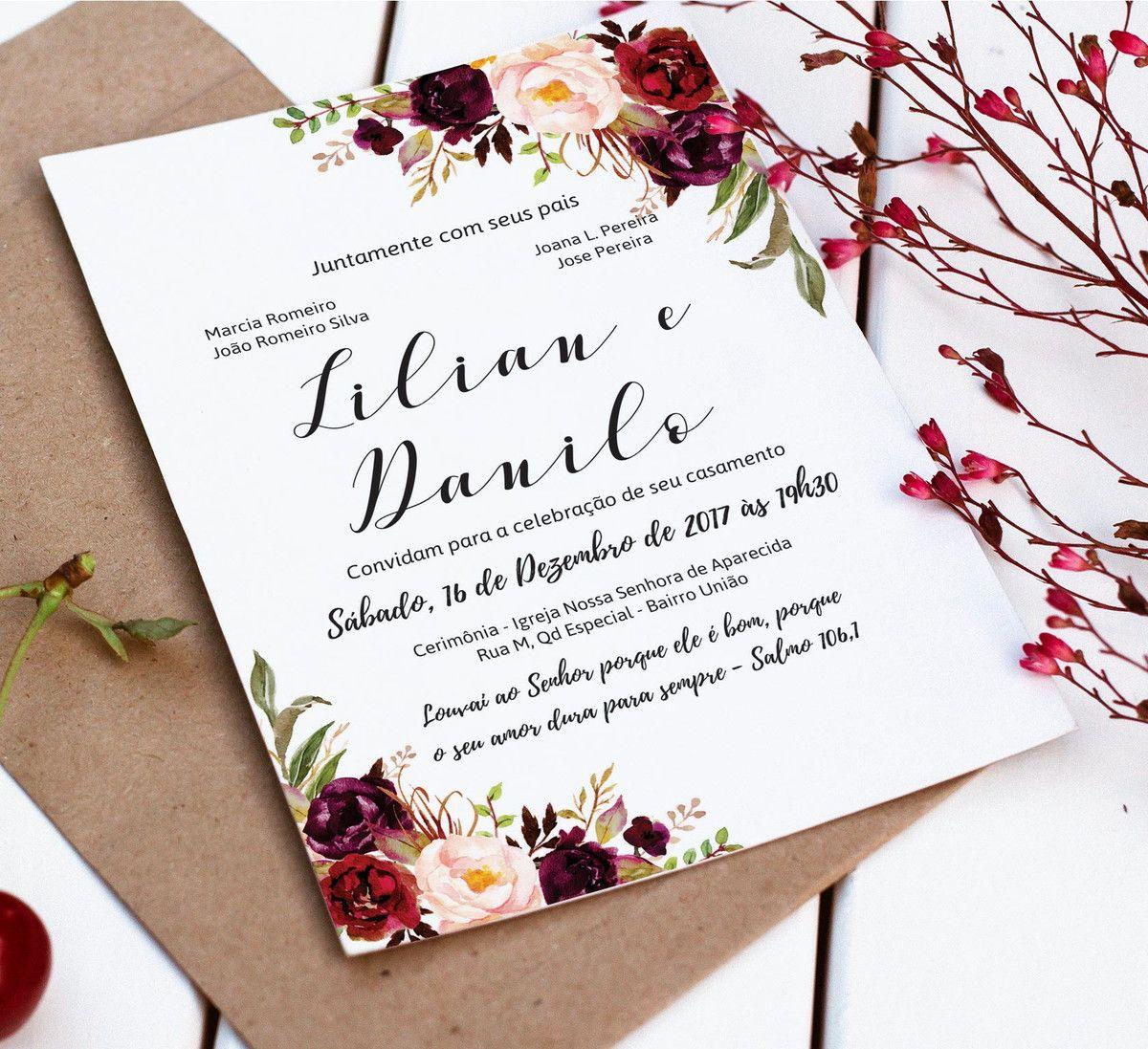 Convite Casamento Floral Digital Inclui A Arte Do Convite