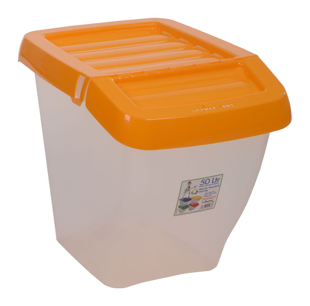 Plastic Storage Box Hinged Lid 30l Pet Food Organiser Container Trunk Loose Bin 8523456781832 Ebay Plastic Box Storage Plastic Storage Container Organization