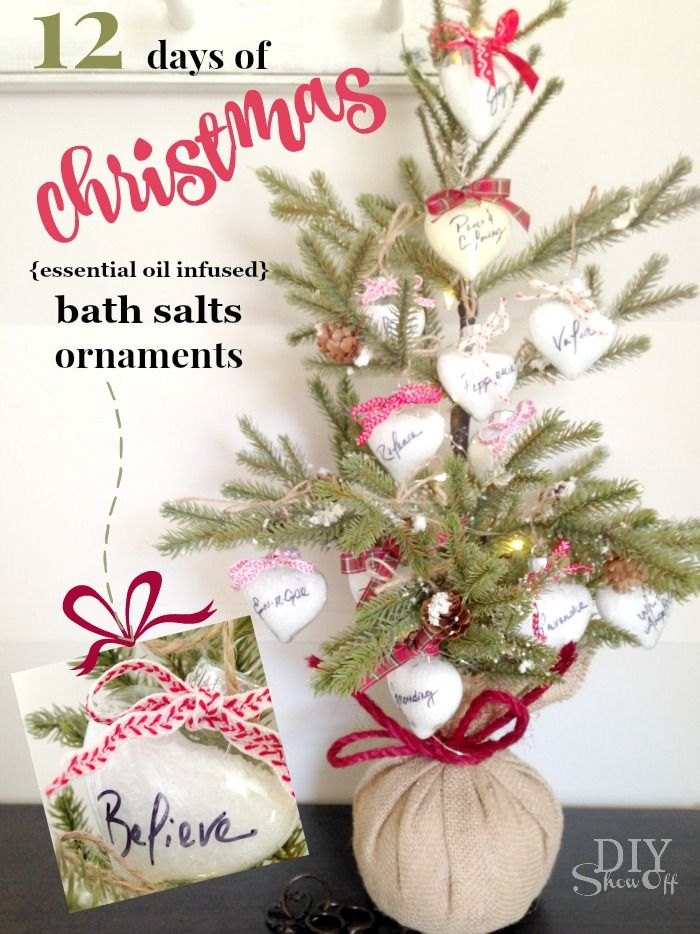 diy essential oil infused bath soak christmas ornament gift tutorial diyshowoff - Christmas Essential Oils