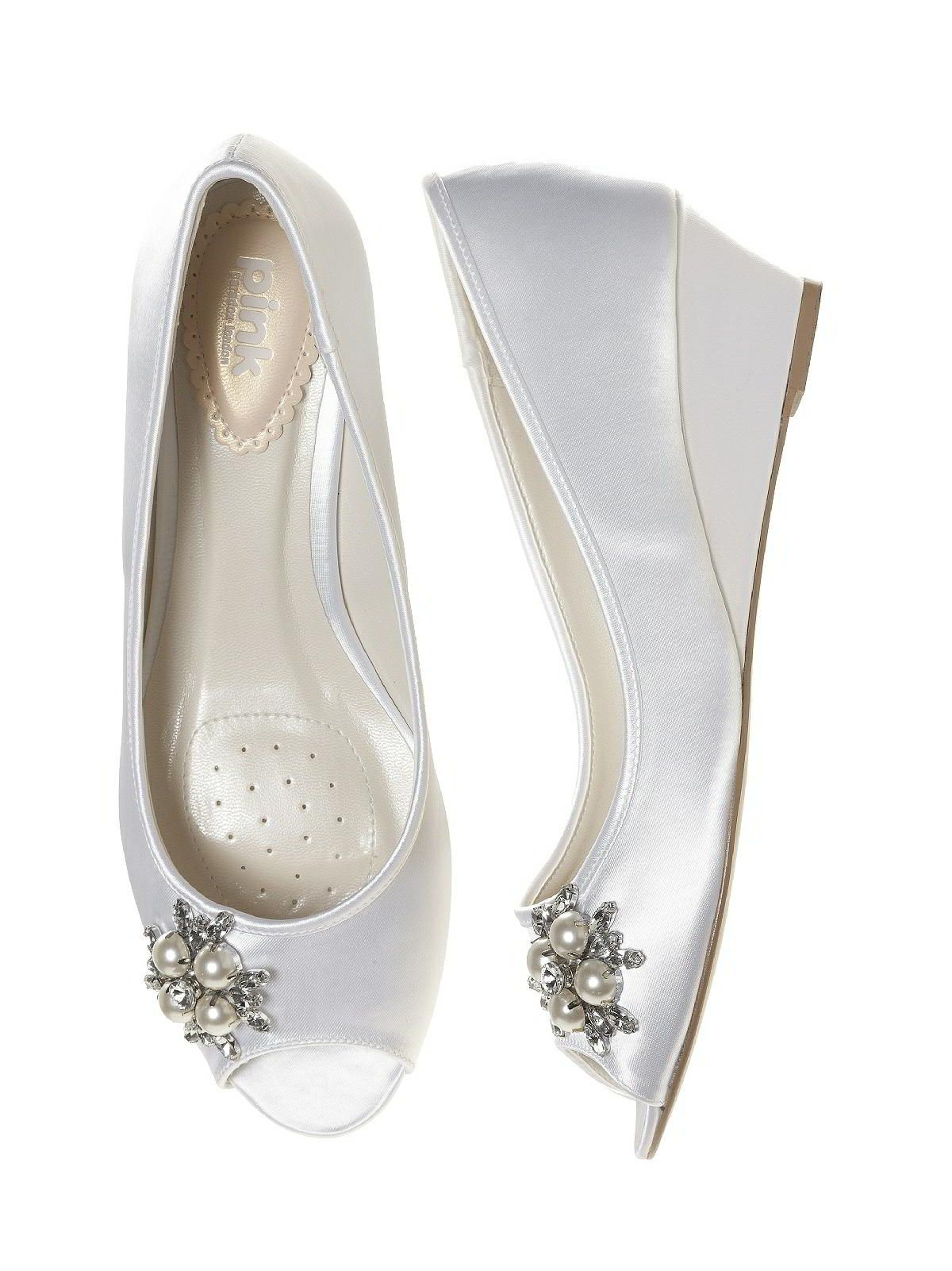 Wedge Heel Bridal Shoes Frosting Dyeable Satin In White