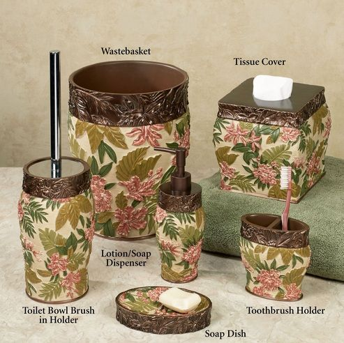 Flower Pattern Bathroom Vanity Accessories Sets For Tropical Themed Bathroom  | Decolover.net