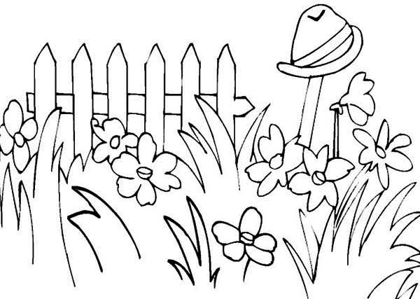 Picture Of Garden On Spring Coloring Page Kids Play Color Garden Coloring Pages Garden Drawing Spring Coloring Pages