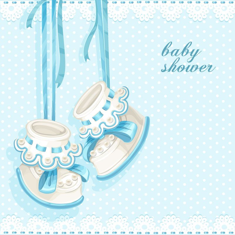 Cartoon Baby Shoes Vector Baby Shower Cards Baby Shower Labels Baby Shower