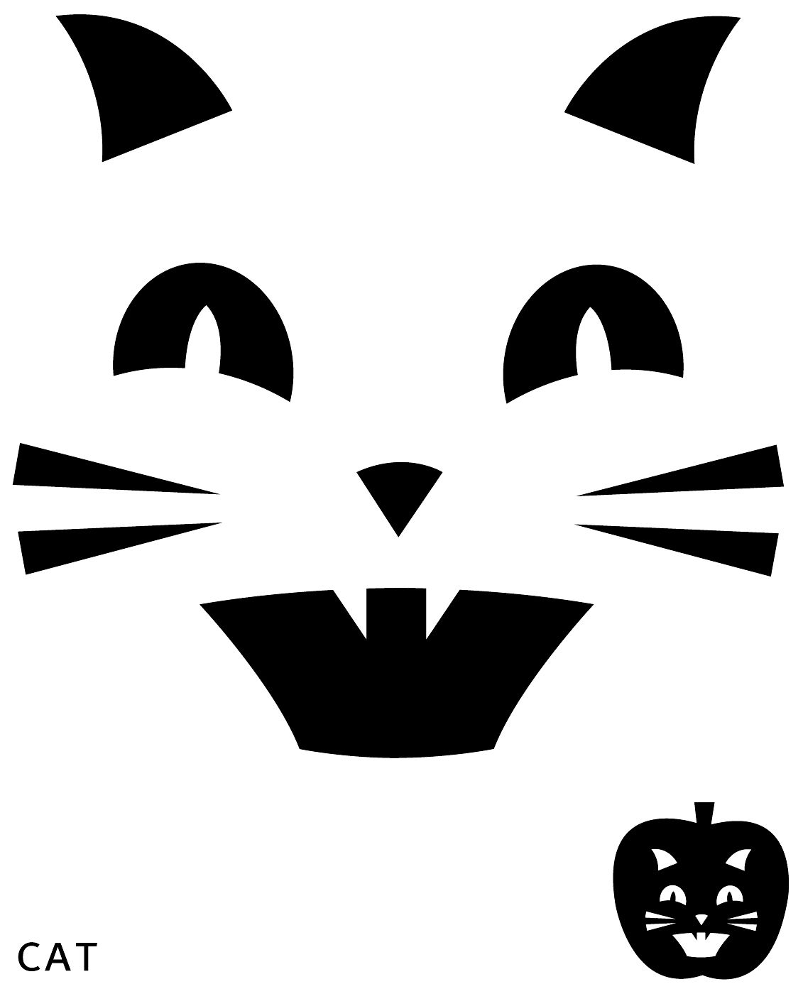 Top Cat Face Pumpkin Carving Pattern Stencil Template