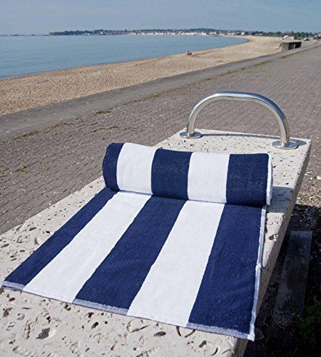 Chlorine Resistant Pool Beach Towel By Hotel Linens Blue And