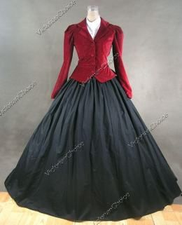Premium Velvet Victorian Edwardian Downton Abbey Dress 3-PC Riding Habit Theater Reenactment Clothing