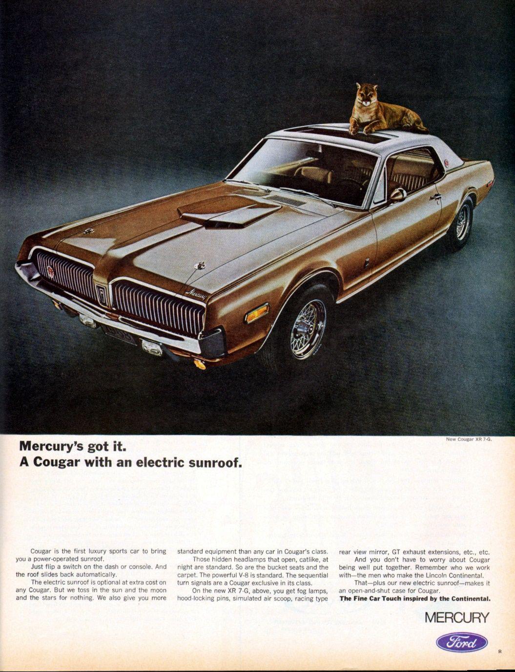 1968 Mercury Cougar | Chevrolet corvette classic cars | Pinterest ...