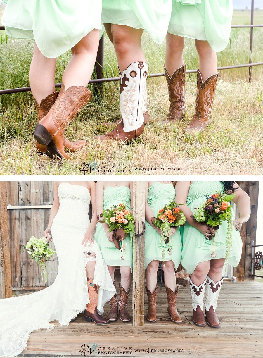 Green bridesmaids dresses and cowgirl boots!