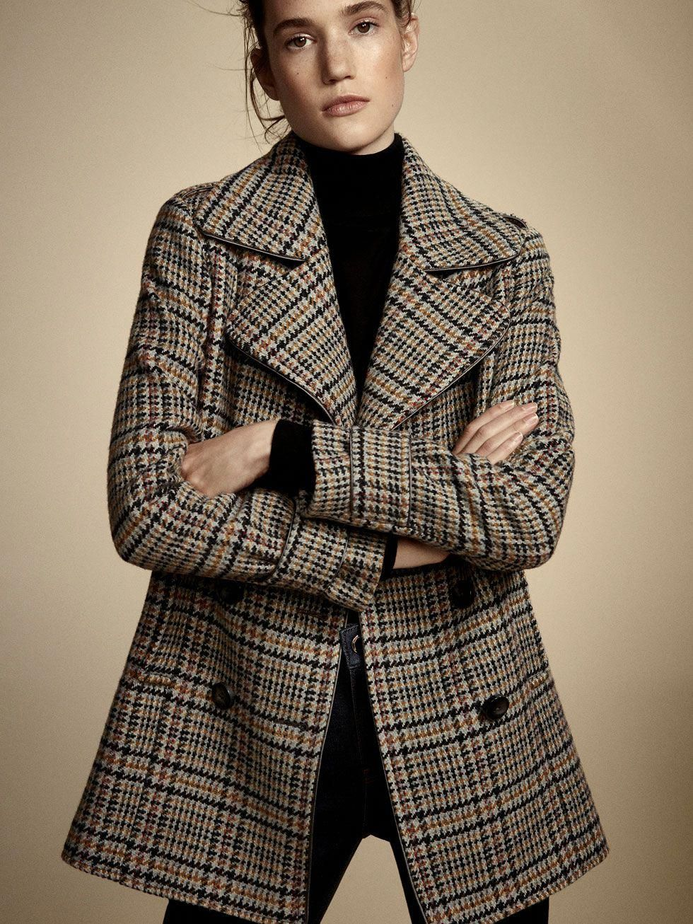 Fall Winter 2017 Women S Checked Wool Coat At Massimo Dutti For 199 Effortless Elegance Women Scoats Plaid Jacket Women Fashion Blouse Jacket
