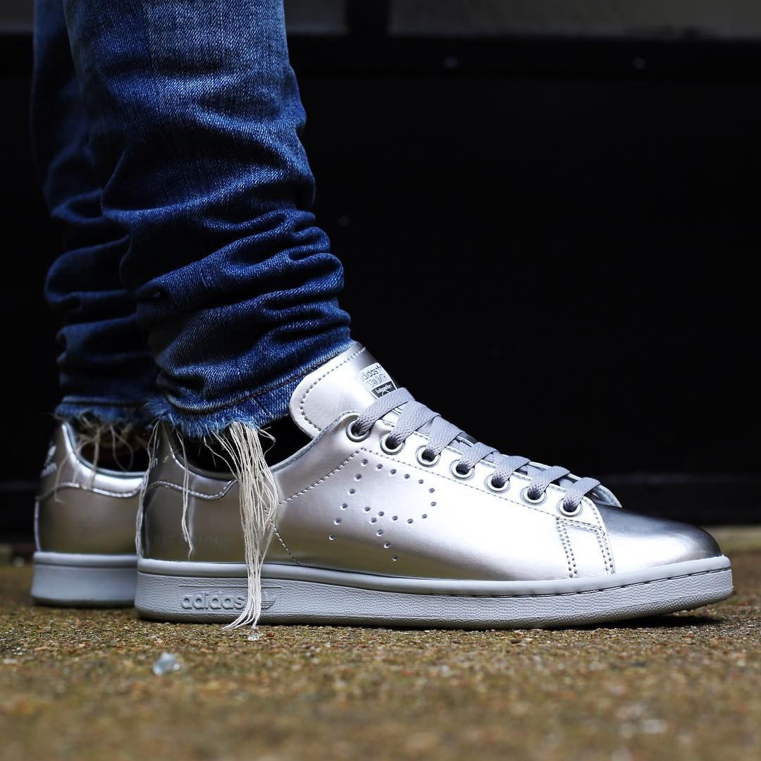 raf simons x adidas stan smith silver