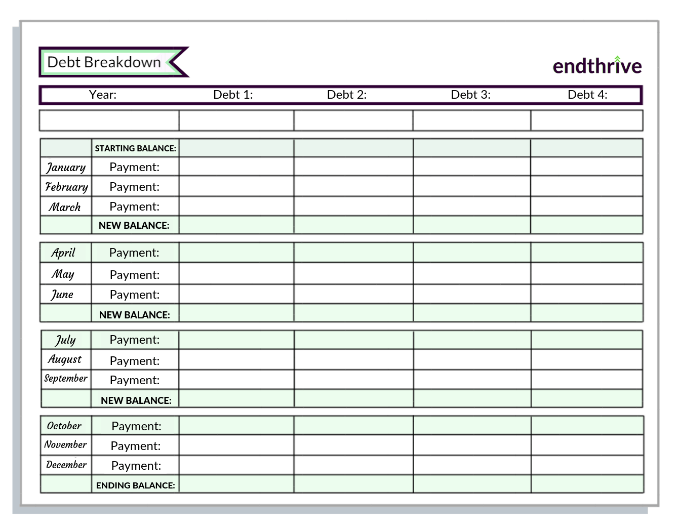 Use This Free Debt Printable To Become Debt Free