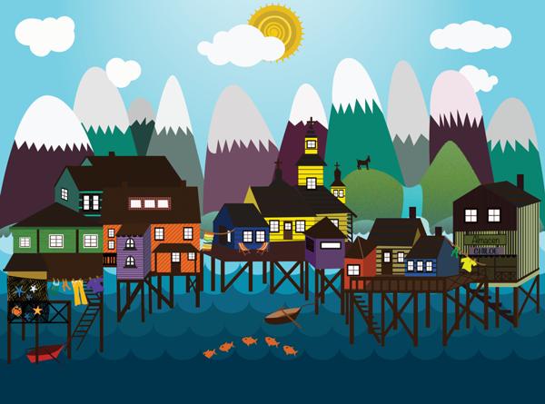 Palafitos Chiloe By Sole Catel Via Behance Illustration