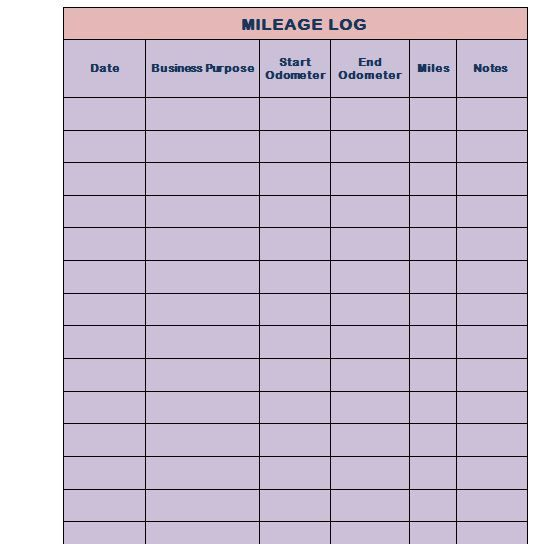 Mileage Log Template 01 Mileage Chart Mileage Log Printable Mileage